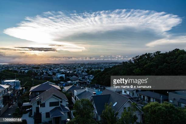 storm clouds on the residential district in kanagawa prefecture of japan - 平塚市 ストックフォトと画像