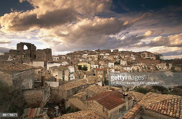 Storm clouds over a city Grottole Province Of Matera Basilicata Italy