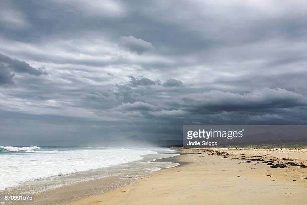 Storm clouds over a secluded beach