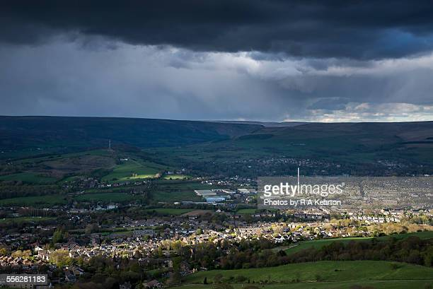 Storm clouds over Northern England town