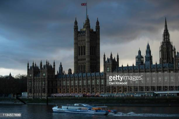Storm clouds pass over the Houses of Parliament at sunset on April 2 2019 in London England The current deadline which the United Kingdom is to leave...