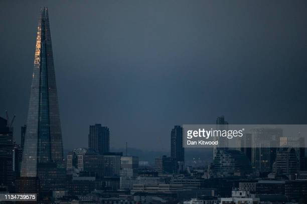 Storm clouds pass over the London Skyline on April 3 2019 in London England The current deadline which the United Kingdom is to leave the European...