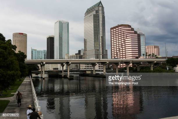 Storm clouds roll in over downtown Tampa Florida on July 3 2017