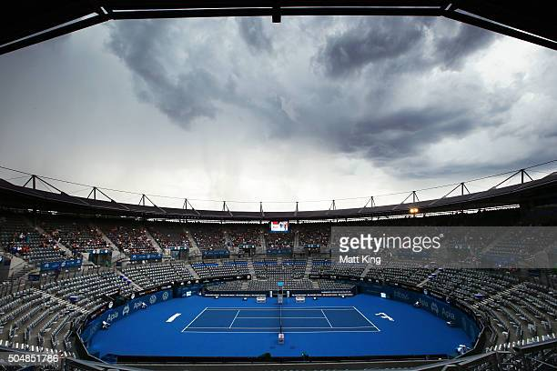Storm clouds roll in stopping play during the quarter final match between Grigor Dimitrov of Bulgaria and Alexandr Dolgopolov of Ukraine during day...