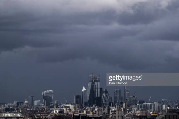 Storm clouds roll over the city skyline on March 4 2019 in London England