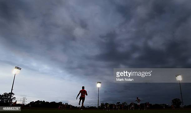 Storm clouds roll over the field during the Greater Western Sydney Giants AFL intraclub match at Blacktown International Sportspark on February 12...