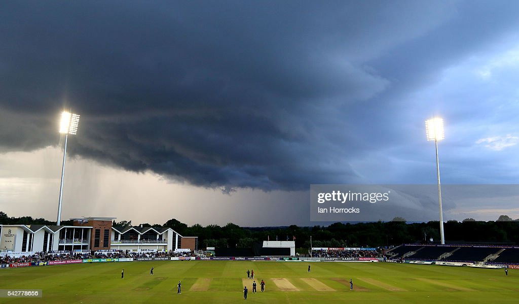 Storm clounds move in to halt play during The NatWest T20 Blast game between Durham Jets and Yorkshire Vikings at Emirates Durham ICG on June 24, 2016 in Chester-le-Street, England.