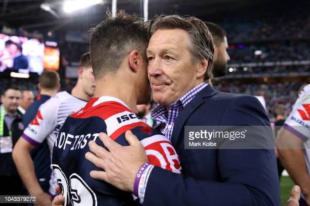 Storm coach Craig Bellamy congratulates Cooper Cronk of the Roosters following the 2018 NRL Grand Final match between the Melbourne Storm and the...