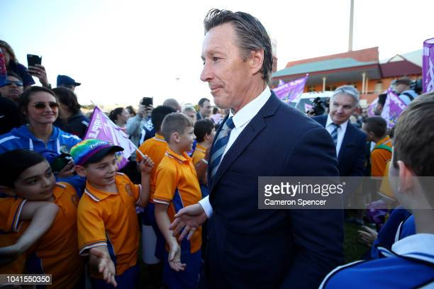 Storm Coach Craig Bellamy is welcomed by fans during the 2018 NRL Fan Day at the Entertainment Quarter on September 27 2018 in Sydney Australia