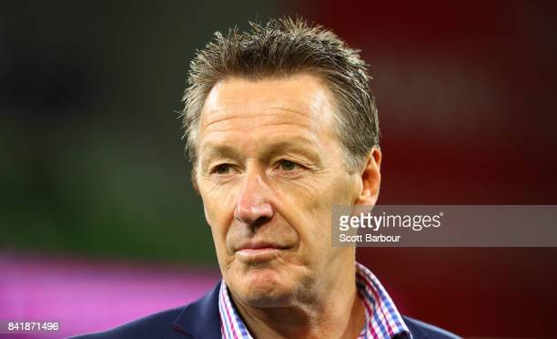 Storm coach Craig Bellamy looks on after the round 26 NRL match between the Melbourne Storm and the Canberra Raiders at AAMI Park on September 2 2017...