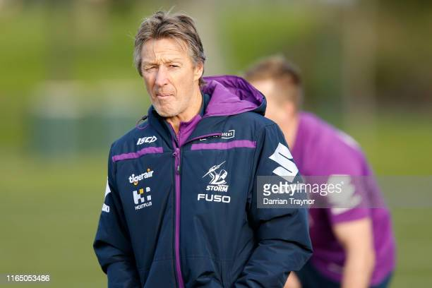 Storm Coach Craig Bellamy looks on during a Melbourne Storm NRL training session at Gosch's Paddock on July 30, 2019 in Melbourne, Australia.