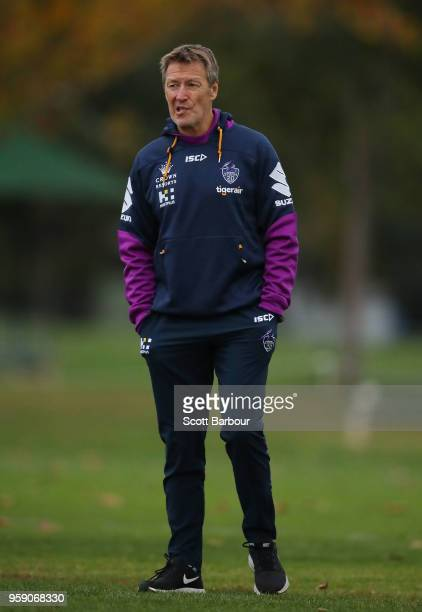 Storm coach Craig Bellamy looks on during a Melbourne Storm NRL media session at Gosch's Paddock on May 16 2018 in Melbourne Australia