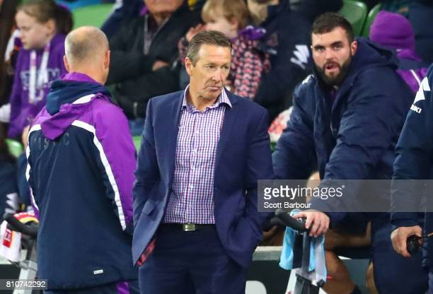 Storm coach Craig Bellamy looks on from the sideline during the round 18 NRL match between the Melbourne Storm and the Parramatta Eels at AAMI Park...
