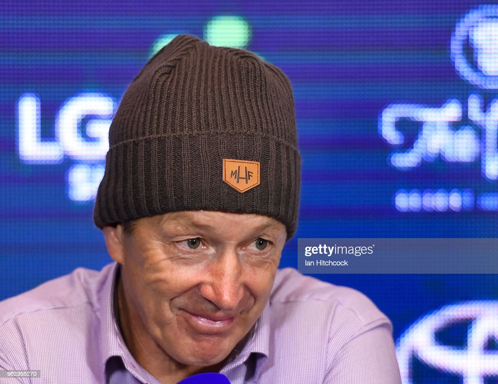 Storm coach Craig Bellamy speaks at the post match media conference at the end of the round 12 NRL match between the North Queensland Cowboys and the Melbourne Storm at 1300SMILES Stadium on May 25, 2018 in Townsville, Australia.