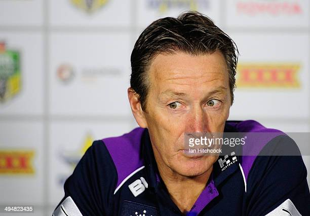 Storm coach Craig Bellamy speaks in the post match press conference at the end of the round 12 NRL match between the North Queensland Cowboys and the...