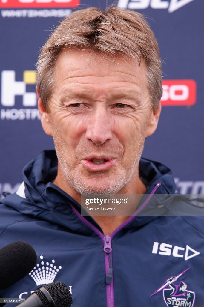 Storm coach Craig Bellamy speaks to the media before a Melbourne Storm NRL training session at Gosch's Paddock on April 17, 2018 in Melbourne, Australia.
