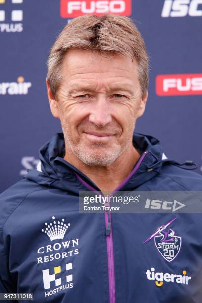 Storm coach Craig Bellamy speaks to the media before a Melbourne Storm NRL training session at Gosch's Paddock on April 17 2018 in Melbourne Australia
