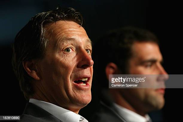 Storm coach Craig Bellamy talks during a press conference during the 2012 NRL Grand Final breakfast at Doltone House on September 27 2012 in Sydney...