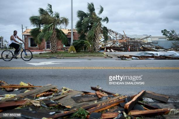 TOPSHOT Storm damage is seen after Hurricane Michael in Panama City Florida on October 10 2018 Michael slammed into the Florida coast on October 10...