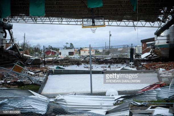 Storm damage is seen after Hurricane Michael in Panama City Florida on October 10 2018 Michael slammed into the Florida coast on October 10 as the...