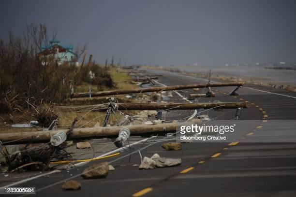 storm damaged electricity poles - destruction stock pictures, royalty-free photos & images