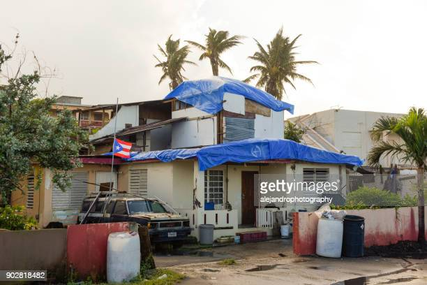 storm damaged home - 2017 hurricane maria stock pictures, royalty-free photos & images