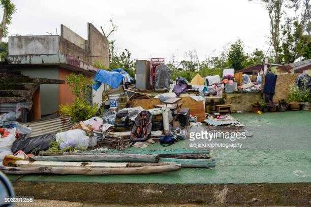 storm damaged neighborhood - 2017 hurricane maria stock pictures, royalty-free photos & images