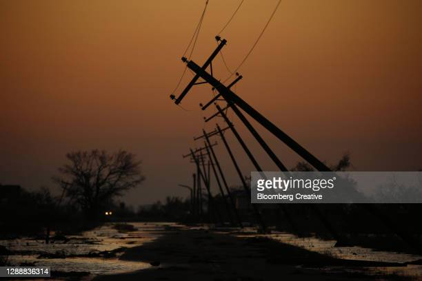 storm damaged utility poles - damaged stock pictures, royalty-free photos & images
