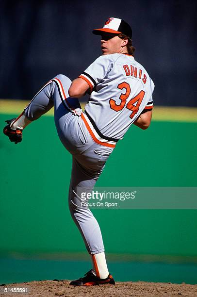 Storm Davis of the Baltimore Orioles pitches against the Philadelphia Phillies during Game four of the 1983 World Series at Veterans Stadium on...