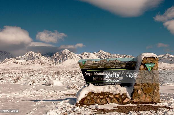 storm deposits deep snow in organ mountains of las cruces - las cruces new mexico stock pictures, royalty-free photos & images