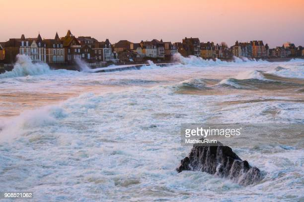 storm eleanor in saint malo - brest brittany stock pictures, royalty-free photos & images
