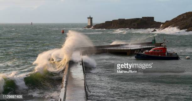 storm erik in bretagne - le conquet - brest brittany stock pictures, royalty-free photos & images