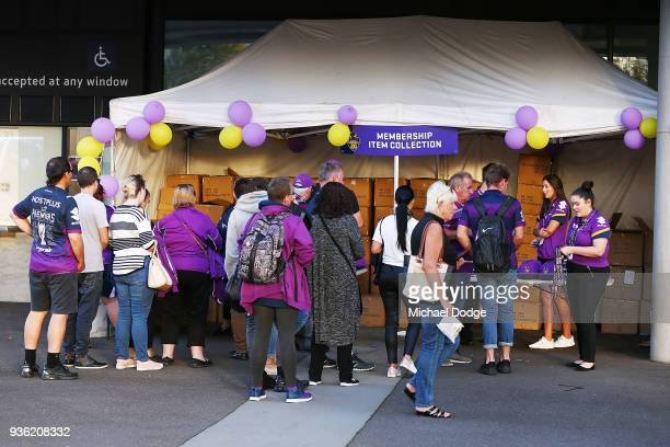 Storm fans arrive during the round three NRL match between the Melbourne Storm and the North Queensland Cowboys at AAMI Park on March 22 2018 in...