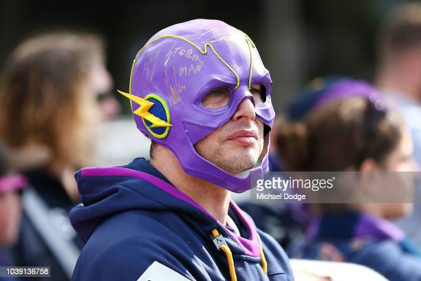 Storm fans show their support during a Melbourne Storm NRL training session at Gosch's Paddock on September 24 2018 in Melbourne Australia