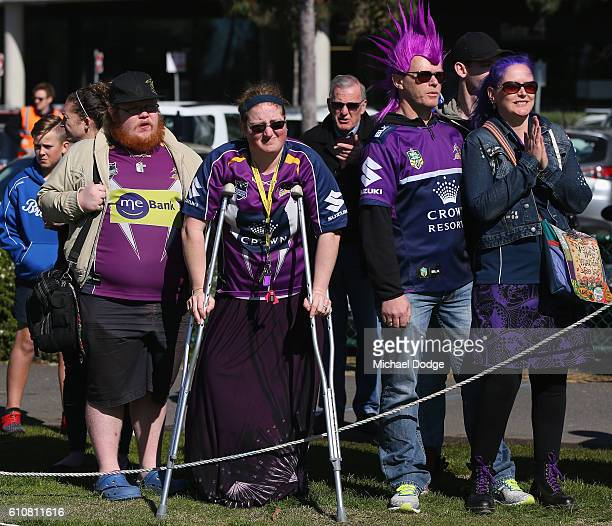 Storm fans show their support during a Melbourne Storm NRL training session at Gosch's Paddock on September 28 2016 in Melbourne Australia