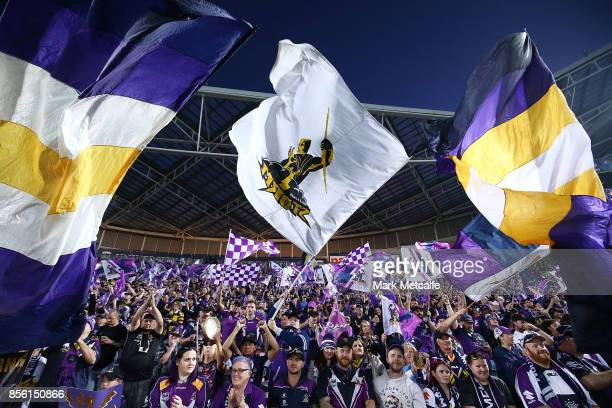 Storm fans show their support during the 2017 NRL Grand Final match between the Melbourne Storm and the North Queensland Cowboys at ANZ Stadium on...