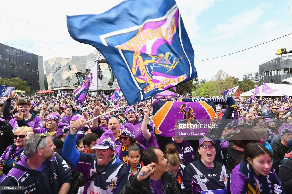Storm fans show their support during the Melbourne Storm NRL Grand Final celebrations at Federation Square on October 2, 2017 in Melbourne, Australia.