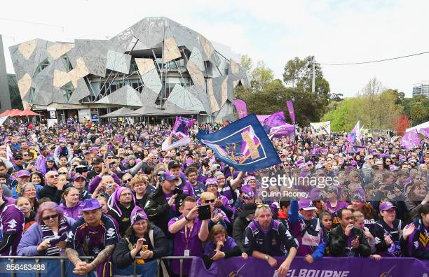 Storm fans show their support during the Melbourne Storm NRL Grand Final celebrations at Federation Square on October 2 2017 in Melbourne Australia