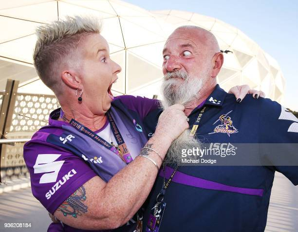 Storm fans show their support during the round three NRL match between the Melbourne Storm and the North Queensland Cowboys at AAMI Park on March 22...