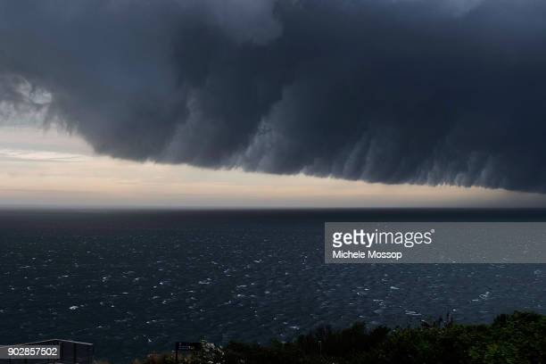 Storm front sweeping up the NSW coast on January 9 2018 in Sydney Australia Heavy wind rain and severe hailstorms are expected throughout eastern New...