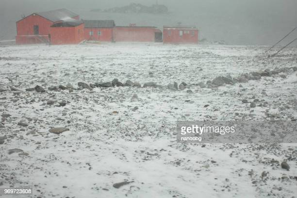 storm in a military base - southern hemisphere stock photos and pictures