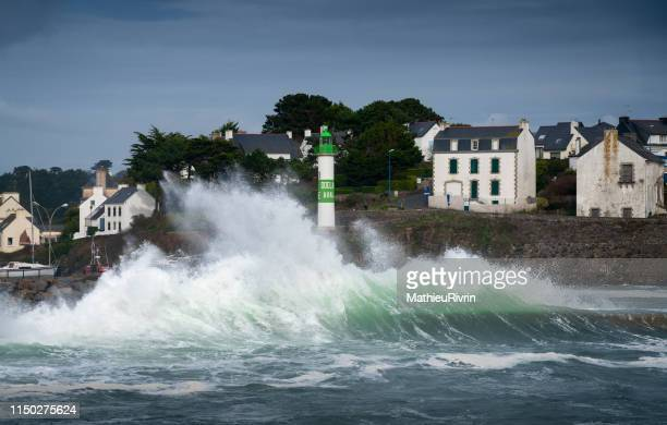 storm in bretagne with huge waves - big brest stock photos and pictures