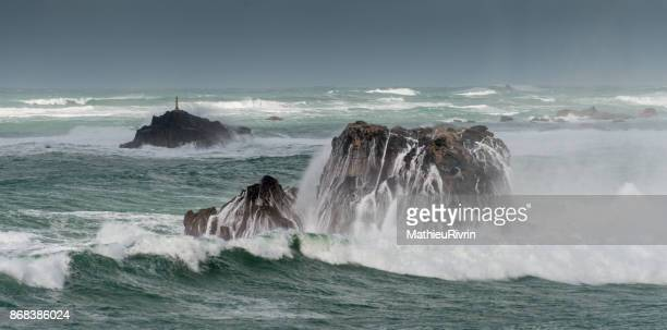 storm in brittany - finistere stock photos and pictures