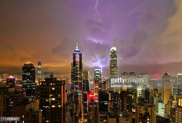 storm in hong kong - michael siward stock pictures, royalty-free photos & images