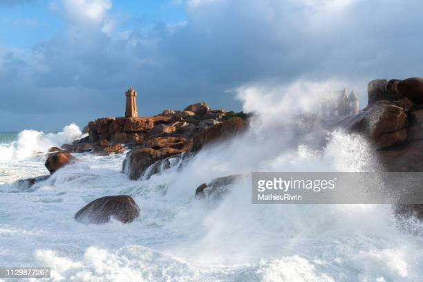 "storm in ploumanach and the ""cote de granite rose"" - cotes d'armor stock photos and pictures"