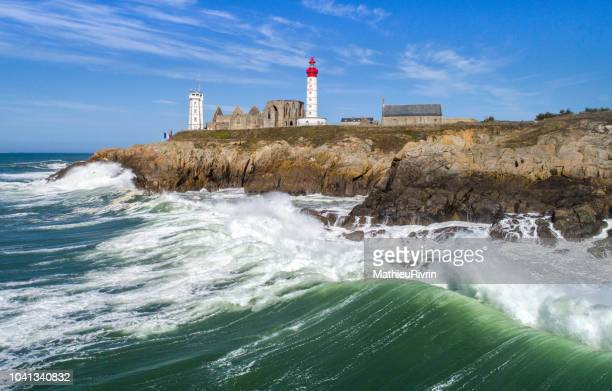 storm in pointe saint-mathieu - aerial image - brest brittany stock pictures, royalty-free photos & images