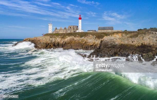 storm in pointe saint-mathieu - aerial image - bretagne photos et images de collection