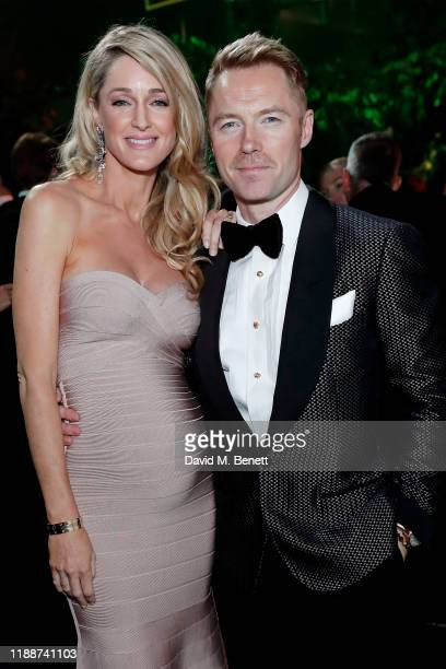 Storm Keating and Ronan Keating attend the 13th annual Emeralds Ivy Ball in partnership with Cancer Research UK and The Marie Keating Foundation at...