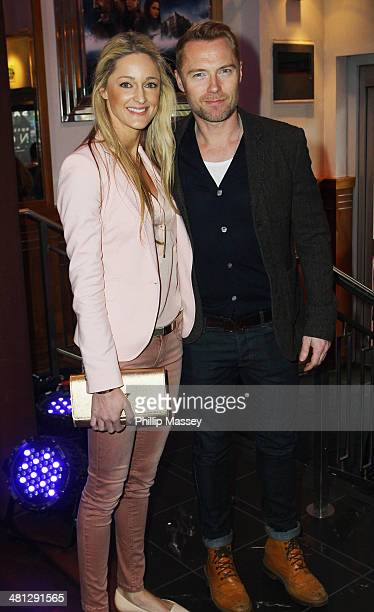 Storm Keating and Ronan Keating attend the Irish premiere of 'Noah' at Savoy Cinema on March 29 2014 in Dublin Ireland