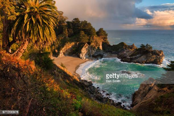 storm light at julia pfeiffer burns state park - mcway falls stock pictures, royalty-free photos & images